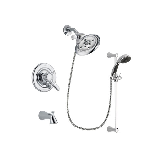 Delta Lahara Chrome Finish Dual Control Tub and Shower Faucet System Package with Large Rain Showerhead and 5-Spray Wall Mount Slide Bar with Personal Handheld Shower Includes Rough-in Valve and Tub Spout DSP0785V