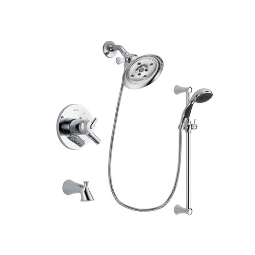 Delta Trinsic Chrome Finish Dual Control Tub and Shower Faucet System Package with Large Rain Showerhead and 5-Spray Wall Mount Slide Bar with Personal Handheld Shower Includes Rough-in Valve and Tub Spout DSP0787V