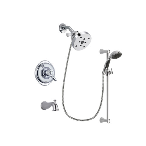 Delta Victorian Chrome Finish Thermostatic Tub and Shower Faucet System Package with 5-1/2 inch Shower Head and 5-Spray Wall Mount Slide Bar with Personal Handheld Shower Includes Rough-in Valve and Tub Spout DSP0801V