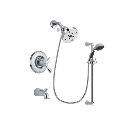 Delta Leland Chrome Finish Thermostatic Tub and Shower Faucet System Package with 5-1/2 inch Shower Head and 5-Spray Wall Mount Slide Bar with Personal Handheld Shower Includes Rough-in Valve and Tub Spout DSP0803V