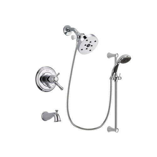 Delta Cassidy Chrome Finish Thermostatic Tub and Shower Faucet System Package with 5-1/2 inch Shower Head and 5-Spray Wall Mount Slide Bar with Personal Handheld Shower Includes Rough-in Valve and Tub Spout DSP0807V