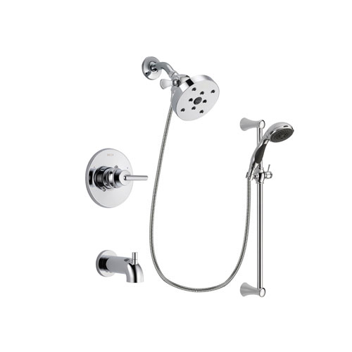 Delta Trinsic Chrome Finish Tub and Shower Faucet System Package with 5-1/2 inch Shower Head and 5-Spray Wall Mount Slide Bar with Personal Handheld Shower Includes Rough-in Valve and Tub Spout DSP0811V