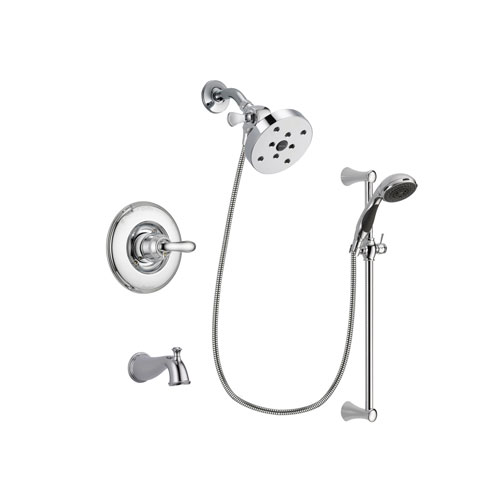 Delta Linden Chrome Finish Tub and Shower Faucet System Package with 5-1/2 inch Shower Head and 5-Spray Wall Mount Slide Bar with Personal Handheld Shower Includes Rough-in Valve and Tub Spout DSP0817V