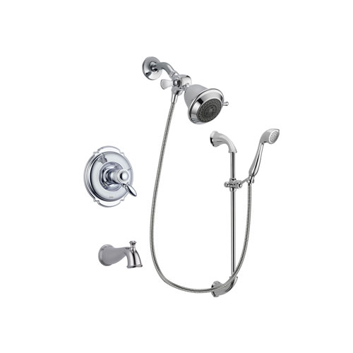 Delta Victorian Chrome Finish Thermostatic Tub and Shower Faucet System Package with Shower Head and Handheld Shower with Slide Bar Includes Rough-in Valve and Tub Spout DSP0835V