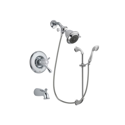 Delta Leland Chrome Finish Thermostatic Tub and Shower Faucet System Package with Shower Head and Handheld Shower with Slide Bar Includes Rough-in Valve and Tub Spout DSP0837V