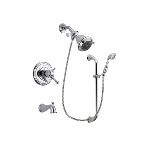 Delta Cassidy Chrome Finish Thermostatic Tub and Shower Faucet System Package with Shower Head and Handheld Shower with Slide Bar Includes Rough-in Valve and Tub Spout DSP0841V