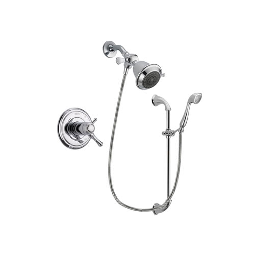 Delta Cassidy Chrome Finish Thermostatic Shower Faucet System Package with Shower Head and Handheld Shower with Slide Bar Includes Rough-in Valve DSP0842V