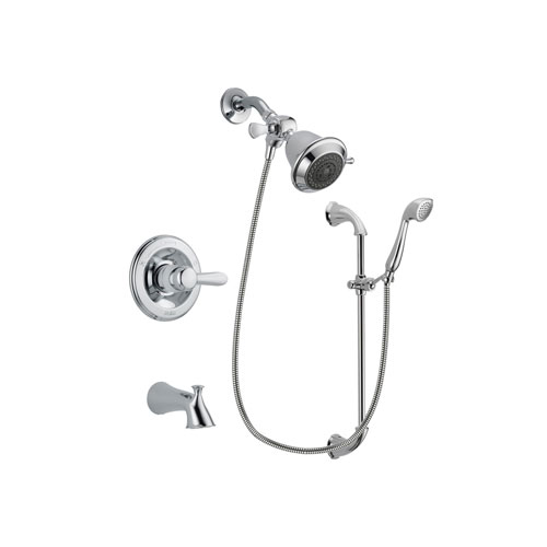 Delta Lahara Chrome Finish Tub and Shower Faucet System Package with Shower Head and Handheld Shower with Slide Bar Includes Rough-in Valve and Tub Spout DSP0843V