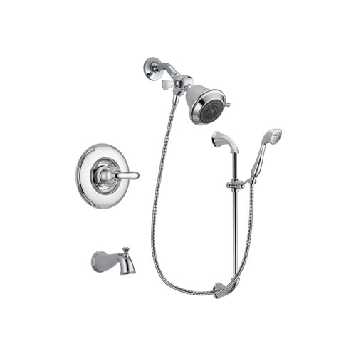 Delta Linden Chrome Finish Tub and Shower Faucet System Package with Shower Head and Handheld Shower with Slide Bar Includes Rough-in Valve and Tub Spout DSP0851V