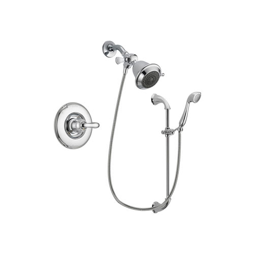 Delta Linden Chrome Finish Shower Faucet System Package with Shower Head and Handheld Shower with Slide Bar Includes Rough-in Valve DSP0852V