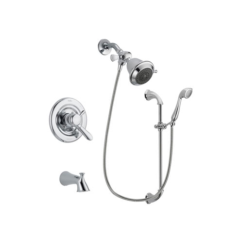 Delta Lahara Chrome Finish Dual Control Tub and Shower Faucet System Package with Shower Head and Handheld Shower with Slide Bar Includes Rough-in Valve and Tub Spout DSP0853V
