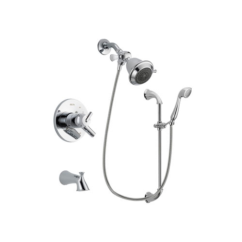 Delta Trinsic Chrome Finish Dual Control Tub and Shower Faucet System Package with Shower Head and Handheld Shower with Slide Bar Includes Rough-in Valve and Tub Spout DSP0855V