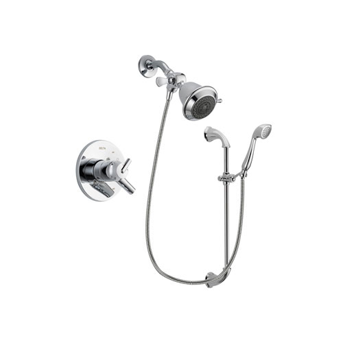 Delta Trinsic Chrome Finish Dual Control Shower Faucet System Package with Shower Head and Handheld Shower with Slide Bar Includes Rough-in Valve DSP0856V