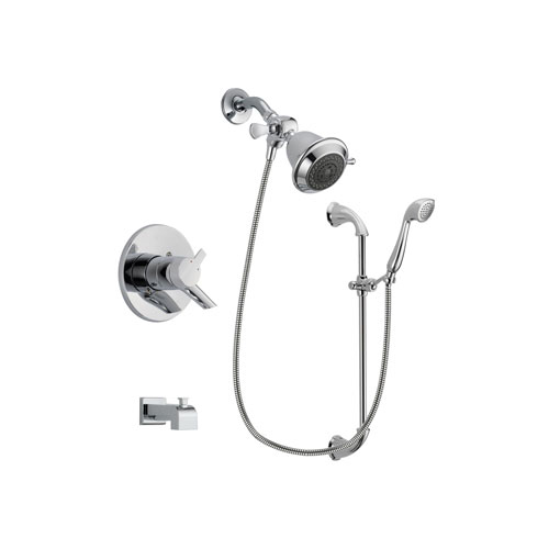 Delta Compel Chrome Finish Dual Control Tub and Shower Faucet System Package with Shower Head and Handheld Shower with Slide Bar Includes Rough-in Valve and Tub Spout DSP0857V