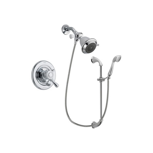 Delta Leland Chrome Finish Dual Control Shower Faucet System Package with Shower Head and Handheld Shower with Slide Bar Includes Rough-in Valve DSP0860V