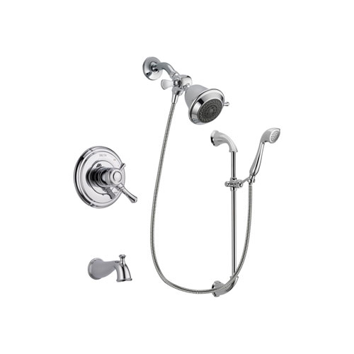 Delta Cassidy Chrome Finish Dual Control Tub and Shower Faucet System Package with Shower Head and Handheld Shower with Slide Bar Includes Rough-in Valve and Tub Spout DSP0865V