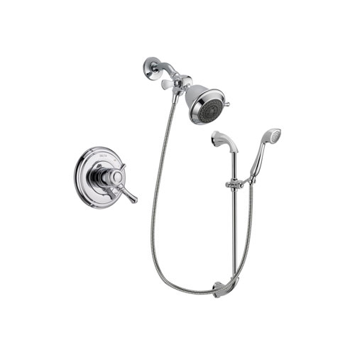 Delta Cassidy Chrome Finish Dual Control Shower Faucet System Package with Shower Head and Handheld Shower with Slide Bar Includes Rough-in Valve DSP0866V