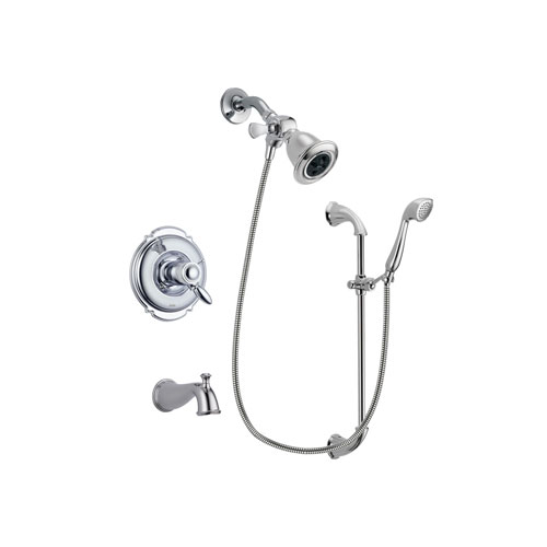 Delta Victorian Chrome Finish Thermostatic Tub and Shower Faucet System Package with Water Efficient Showerhead and Handheld Shower with Slide Bar Includes Rough-in Valve and Tub Spout DSP0869V