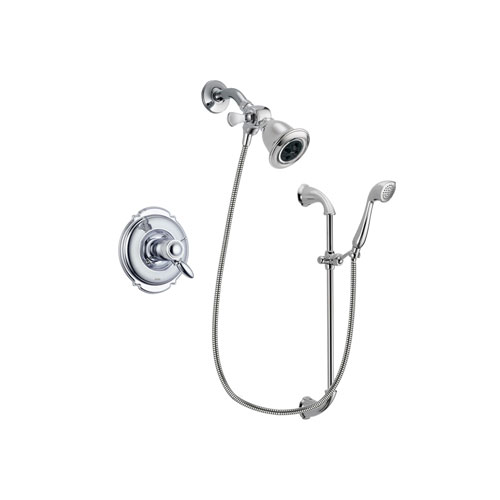 Delta Victorian Chrome Finish Thermostatic Shower Faucet System Package with Water Efficient Showerhead and Handheld Shower with Slide Bar Includes Rough-in Valve DSP0870V