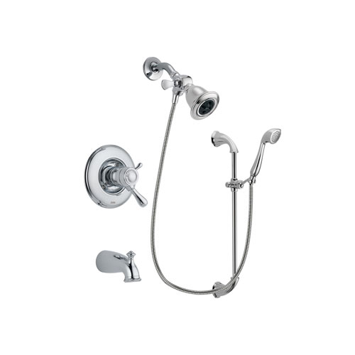 Delta Leland Chrome Finish Thermostatic Tub and Shower Faucet System Package with Water Efficient Showerhead and Handheld Shower with Slide Bar Includes Rough-in Valve and Tub Spout DSP0871V
