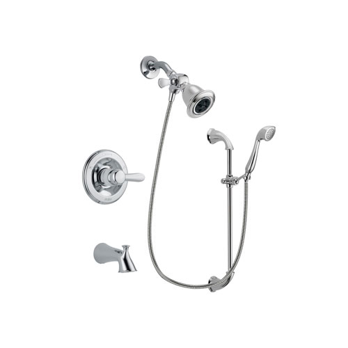 Delta Lahara Chrome Finish Tub and Shower Faucet System Package with Water Efficient Showerhead and Handheld Shower with Slide Bar Includes Rough-in Valve and Tub Spout DSP0877V