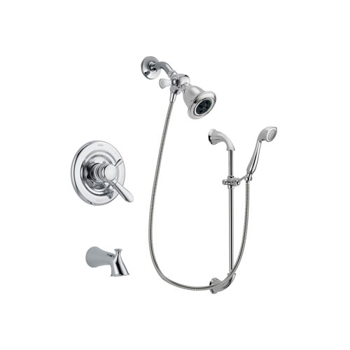 Delta Lahara Chrome Finish Dual Control Tub and Shower Faucet System Package with Water Efficient Showerhead and Handheld Shower with Slide Bar Includes Rough-in Valve and Tub Spout DSP0887V