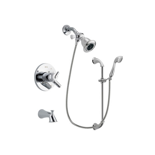 Delta Trinsic Chrome Finish Dual Control Tub and Shower Faucet System Package with Water Efficient Showerhead and Handheld Shower with Slide Bar Includes Rough-in Valve and Tub Spout DSP0889V