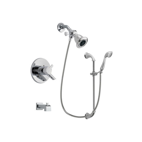 Delta Compel Chrome Finish Dual Control Tub and Shower Faucet System Package with Water Efficient Showerhead and Handheld Shower with Slide Bar Includes Rough-in Valve and Tub Spout DSP0891V