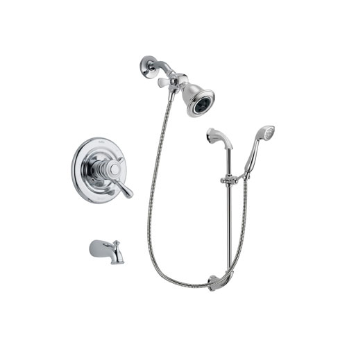 Delta Leland Chrome Finish Dual Control Tub and Shower Faucet System Package with Water Efficient Showerhead and Handheld Shower with Slide Bar Includes Rough-in Valve and Tub Spout DSP0893V