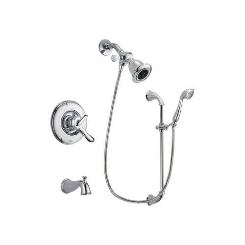 Delta Linden Chrome Finish Dual Control Tub and Shower Faucet System Package with Water Efficient Showerhead and Handheld Shower with Slide Bar Includes Rough-in Valve and Tub Spout DSP0897V