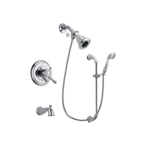Delta Cassidy Chrome Finish Dual Control Tub and Shower Faucet System Package with Water Efficient Showerhead and Handheld Shower with Slide Bar Includes Rough-in Valve and Tub Spout DSP0899V