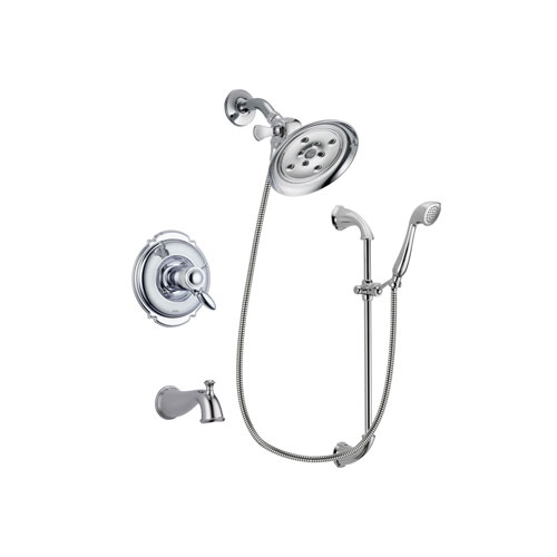 Delta Victorian Chrome Finish Thermostatic Tub and Shower Faucet System Package with Large Rain Showerhead and Handheld Shower with Slide Bar Includes Rough-in Valve and Tub Spout DSP0903V