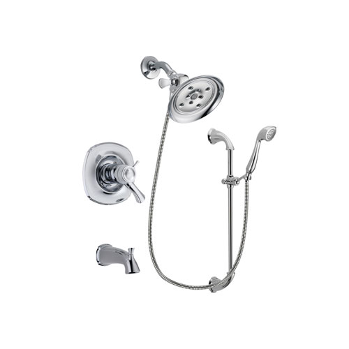 Delta Addison Chrome Finish Thermostatic Tub and Shower Faucet System Package with Large Rain Showerhead and Handheld Shower with Slide Bar Includes Rough-in Valve and Tub Spout DSP0907V