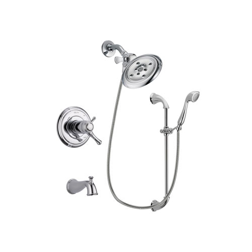 Delta Cassidy Chrome Finish Thermostatic Tub and Shower Faucet System Package with Large Rain Showerhead and Handheld Shower with Slide Bar Includes Rough-in Valve and Tub Spout DSP0909V