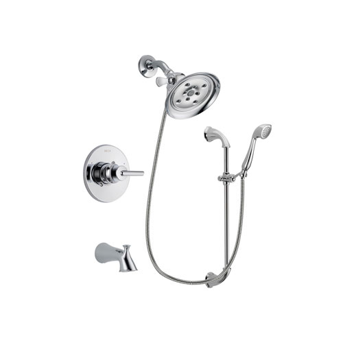 Delta Trinsic Chrome Finish Tub and Shower Faucet System Package with Large Rain Showerhead and Handheld Shower with Slide Bar Includes Rough-in Valve and Tub Spout DSP0913V
