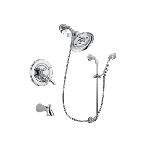 Delta Lahara Chrome Finish Dual Control Tub and Shower Faucet System Package with Large Rain Showerhead and Handheld Shower with Slide Bar Includes Rough-in Valve and Tub Spout DSP0921V