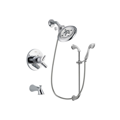 Delta Trinsic Chrome Finish Dual Control Tub and Shower Faucet System Package with Large Rain Showerhead and Handheld Shower with Slide Bar Includes Rough-in Valve and Tub Spout DSP0923V