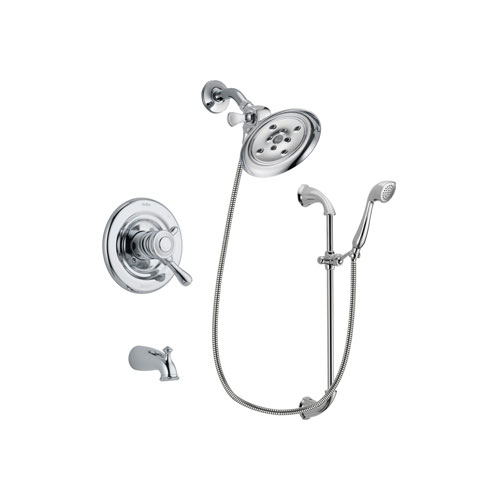 Delta Leland Chrome Finish Dual Control Tub and Shower Faucet System Package with Large Rain Showerhead and Handheld Shower with Slide Bar Includes Rough-in Valve and Tub Spout DSP0927V