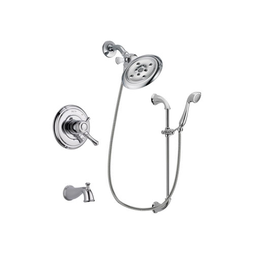 Delta Cassidy Chrome Finish Dual Control Tub and Shower Faucet System Package with Large Rain Showerhead and Handheld Shower with Slide Bar Includes Rough-in Valve and Tub Spout DSP0933V
