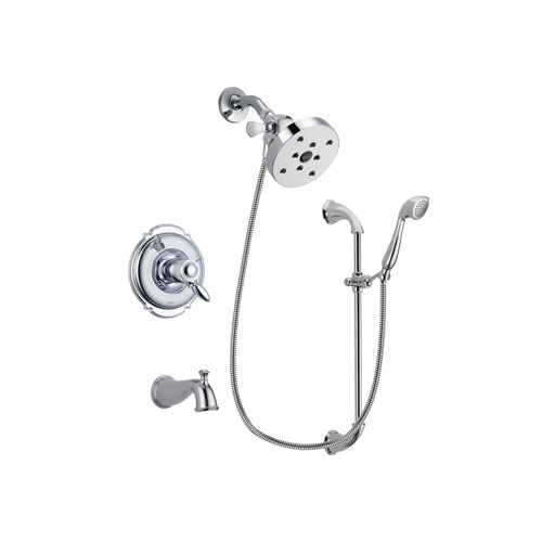Delta Victorian Chrome Finish Thermostatic Tub and Shower Faucet System Package with 5-1/2 inch Shower Head and Handheld Shower with Slide Bar Includes Rough-in Valve and Tub Spout DSP0937V