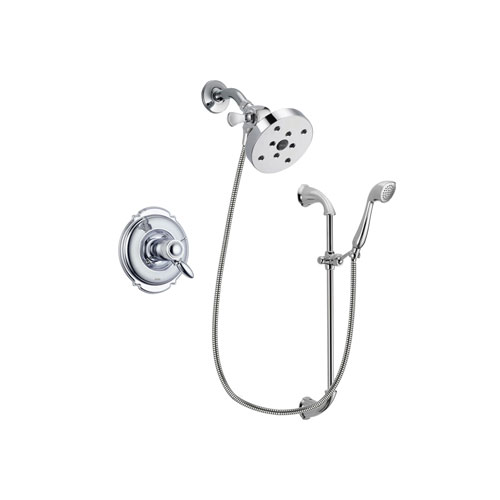 Delta Victorian Chrome Finish Thermostatic Shower Faucet System Package with 5-1/2 inch Shower Head and Handheld Shower with Slide Bar Includes Rough-in Valve DSP0938V