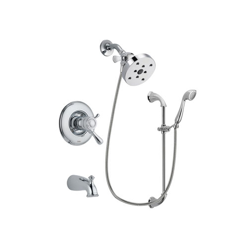 Delta Leland Chrome Finish Thermostatic Tub and Shower Faucet System Package with 5-1/2 inch Shower Head and Handheld Shower with Slide Bar Includes Rough-in Valve and Tub Spout DSP0939V
