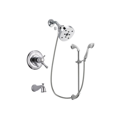 Delta Cassidy Chrome Finish Thermostatic Tub and Shower Faucet System Package with 5-1/2 inch Shower Head and Handheld Shower with Slide Bar Includes Rough-in Valve and Tub Spout DSP0943V