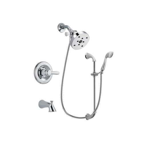 Delta Lahara Chrome Finish Tub and Shower Faucet System Package with 5-1/2 inch Shower Head and Handheld Shower with Slide Bar Includes Rough-in Valve and Tub Spout DSP0945V