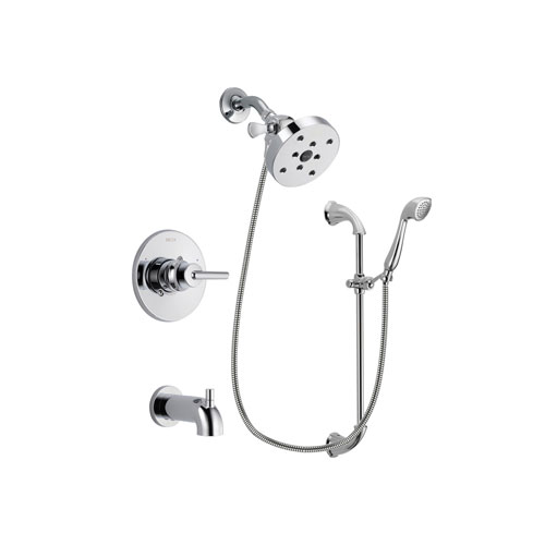 Delta Trinsic Chrome Finish Tub and Shower Faucet System Package with 5-1/2 inch Shower Head and Handheld Shower with Slide Bar Includes Rough-in Valve and Tub Spout DSP0947V