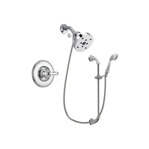 Delta Linden Chrome Finish Shower Faucet System Package with 5-1/2 inch Shower Head and Handheld Shower with Slide Bar Includes Rough-in Valve DSP0954V
