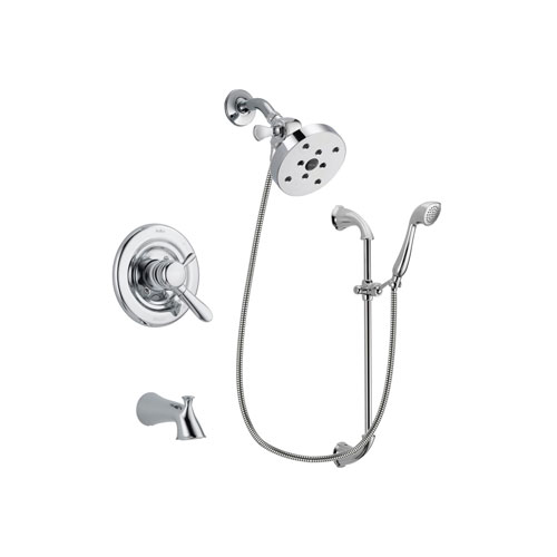 Delta Lahara Chrome Finish Dual Control Tub and Shower Faucet System Package with 5-1/2 inch Shower Head and Handheld Shower with Slide Bar Includes Rough-in Valve and Tub Spout DSP0955V