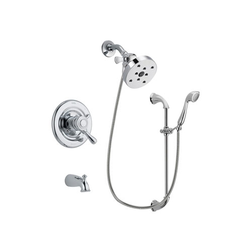 Delta Leland Chrome Finish Dual Control Tub and Shower Faucet System Package with 5-1/2 inch Shower Head and Handheld Shower with Slide Bar Includes Rough-in Valve and Tub Spout DSP0961V