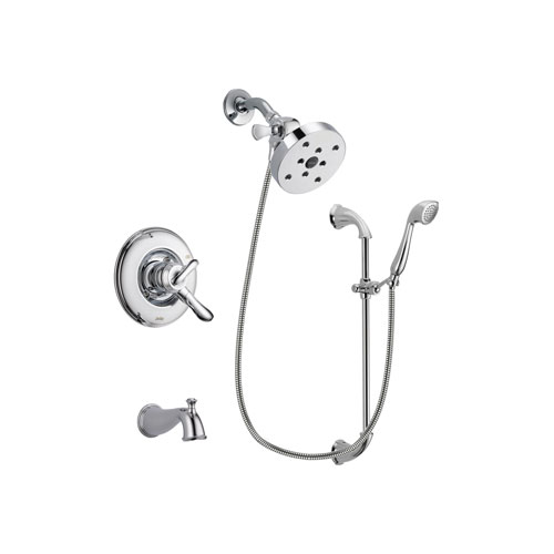 Delta Linden Chrome Finish Dual Control Tub and Shower Faucet System Package with 5-1/2 inch Shower Head and Handheld Shower with Slide Bar Includes Rough-in Valve and Tub Spout DSP0965V