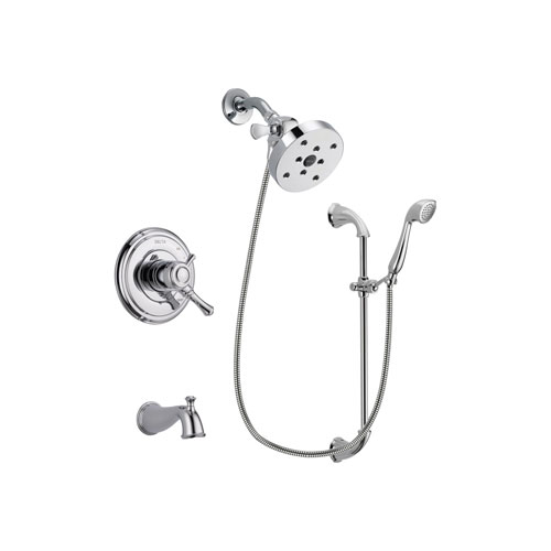 Delta Cassidy Chrome Finish Dual Control Tub and Shower Faucet System Package with 5-1/2 inch Shower Head and Handheld Shower with Slide Bar Includes Rough-in Valve and Tub Spout DSP0967V